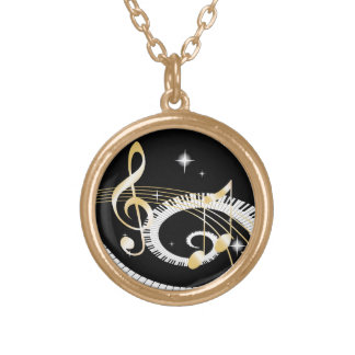 Piano Keys and Golden Music Notes Pendants