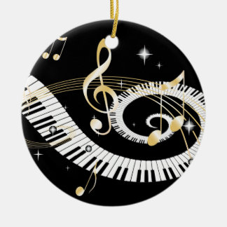 Piano Keys and Golden Music Notes Christmas Ornament