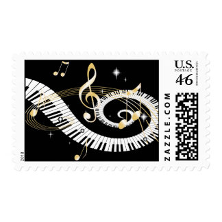 Piano Keys and Golden Music Notes Postage Stamps