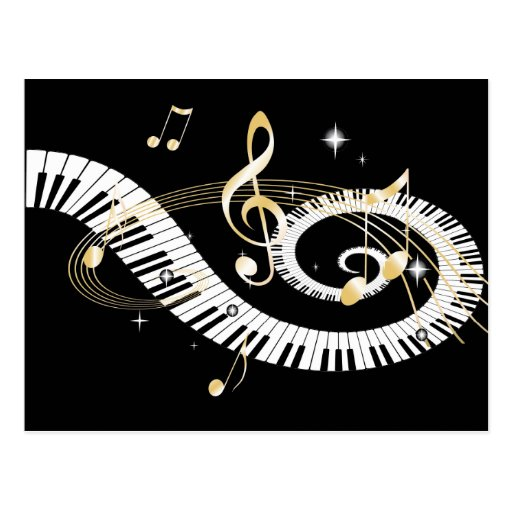 Piano Keys and Golden Music Notes Post Cards