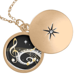 Piano Keys and Golden Music Notes Round Locket Necklace