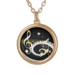 Piano Keys and Golden Music Notes Round Pendant Necklace