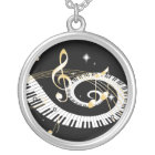 Piano Keys and Golden Music Notes Silver Plated Necklace