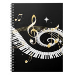 Piano Keys and Golden Music Notes Spiral Notebook