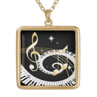 Piano Keys and Golden Music Notes Square Pendant Necklace