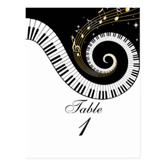 Piano Keys and Golden Music Notes Table Number Postcard