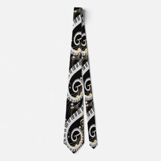 Piano Keys and Golden Music Notes Tie