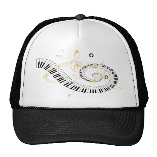 Piano Keys and Golden Music Notes Trucker Hat