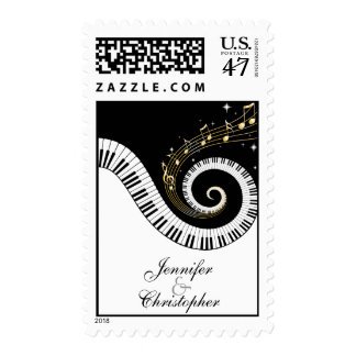 Piano Keys and Golden Music Notes Wedding Stamp