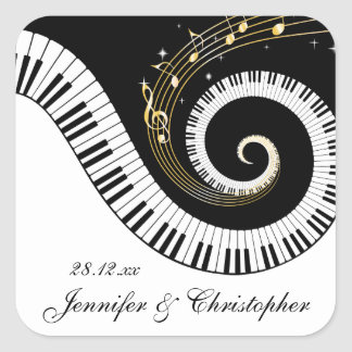Piano Keys and Golden Music Notes Wedding Square Stickers