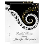 Piano Keys and Golden Musical Notes Bridal Shower Card