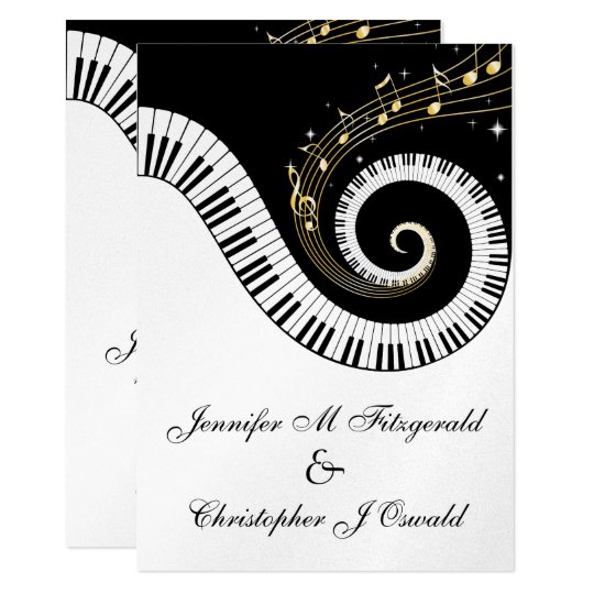 Piano Keys And Golden Musical Notes Wedding Card