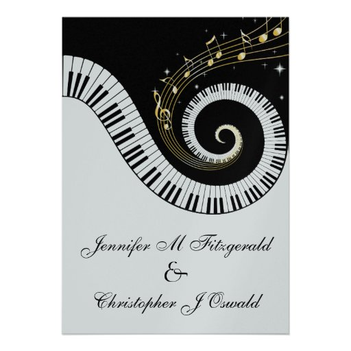 Piano Keys And Golden Musical Notes Wedding Custom Invites
