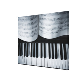Piano Keys and Music Book Canvas Print