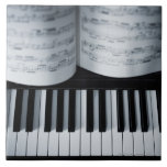 Piano Keys and Music Book Large Square Tile
