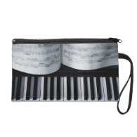 Piano Keys and Music Book Wristlet Purse