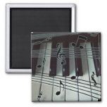 Piano Keys and Music Notes 2 Inch Square Magnet