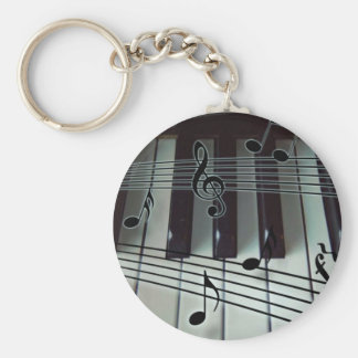 Piano Keys and Music Notes Basic Round Button Keychain