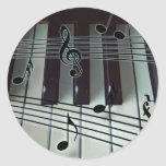 Piano Keys and Music Notes Classic Round Sticker