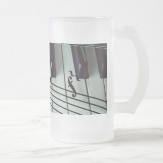 Piano Keys and Music Notes Frosted Glass Beer Mug