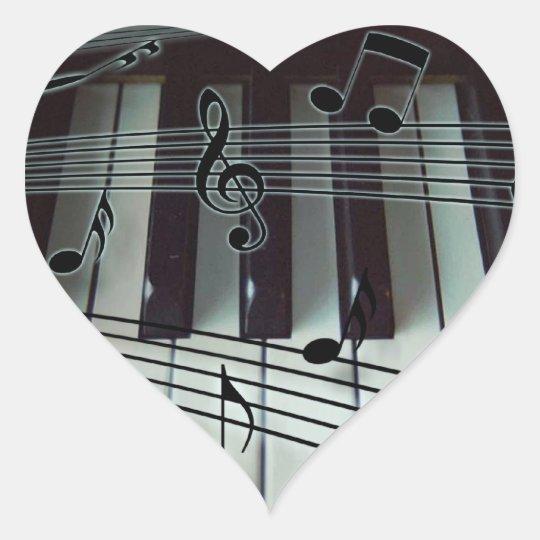Piano Keys and Music Notes Heart Sticker