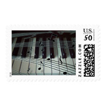 Piano Keys and Music Notes Postage