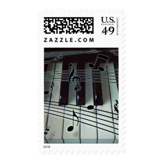 Piano Keys and Music Notes Stamp