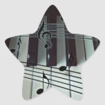 Piano Keys and Music Notes Star Sticker