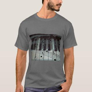 Piano Keys And Music Notes T-shirt at Zazzle