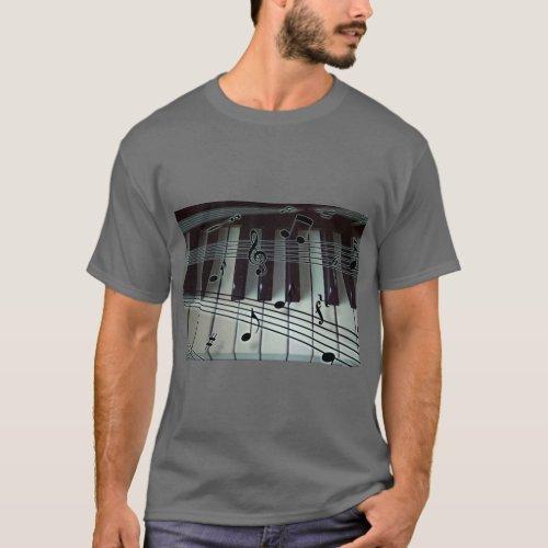 Piano Keys and Music Notes T_Shirt