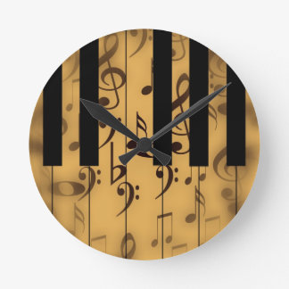 Piano Keys and Musical Notes Round Clock