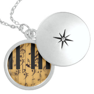 Piano Keys and Musical Notes Round Locket Necklace