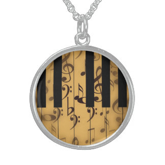 Piano Keys and Musical Notes Round Pendant Necklace