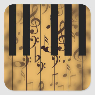 Piano Keys and Musical Notes Square Sticker