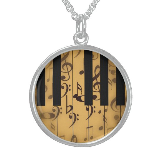Piano Keys and Musical Notes Sterling Silver Necklace