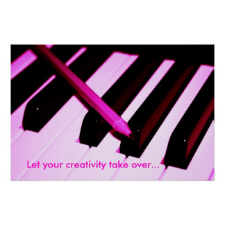 Piano Keys and Pencil Closeup Poster