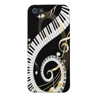 Piano Keys and Swirling Golden Music Notes Cover For iPhone 5/5S