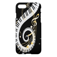 Piano Keys and Swirling Golden Music Notes iPhone 7 Case