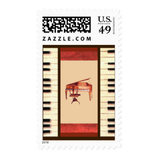 piano keys antique piano & chair bench postage