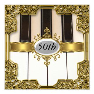 """Piano Keys Birthday Party Glamour Hot Invitation 5.25"""" Square Invitation Card"""