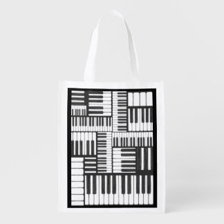 Piano Keys Black and White Grocery Bag