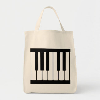 Piano Keys Black And White Pattern Canvas Bags