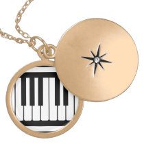 Piano Keys Black And White Pattern Gold Finish Necklace