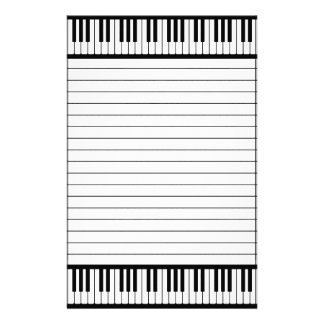 Piano Keys Black And White Pattern Lined Stationery Design
