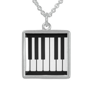 Piano Keys Black And White Pattern Necklace