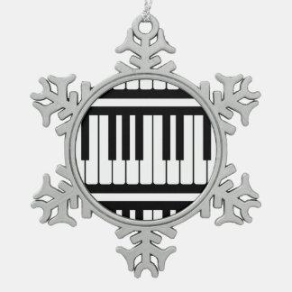 Piano Keys Black And White Pattern Ornaments