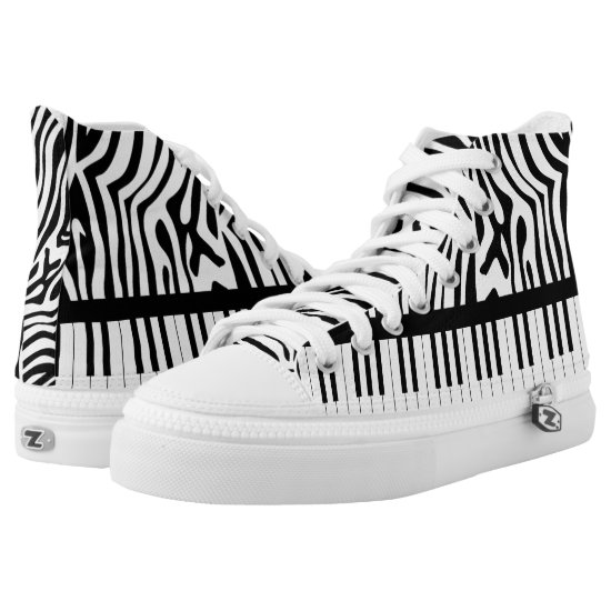 Piano Keys black and white Zebra Print High-Top Sneakers