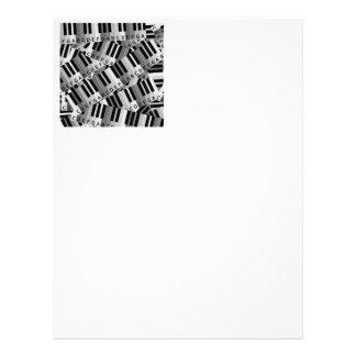 Piano Keys Black and WhitePpattern Letterhead