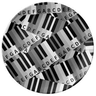 Piano Keys Black and WhitePpattern Porcelain Plate