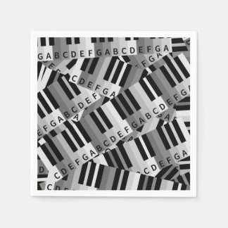 Piano Keys Black and WhitePpattern Standard Cocktail Napkin